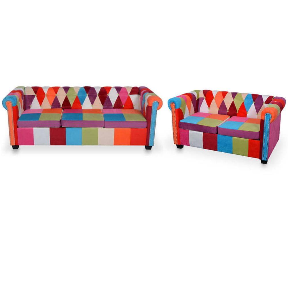 2dílný set chesterfield pohovka textil