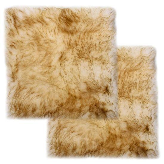shumee 2 db barna melanzsszínű valódi báránybőr székpárna 40 x 40 cm