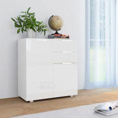 Greatstore Komoda, vysoký lesk, biela 71x35x76 cm, drevotrieska