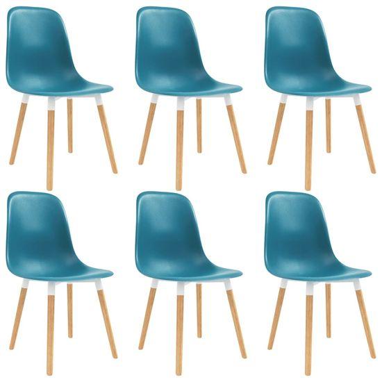 shumee Krzesła do jadalni, 6 szt., turkusowe, plastik