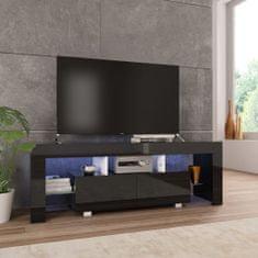 shumee TV omarica z LED svetilkami visok sijaj črna 130x35x45 cm