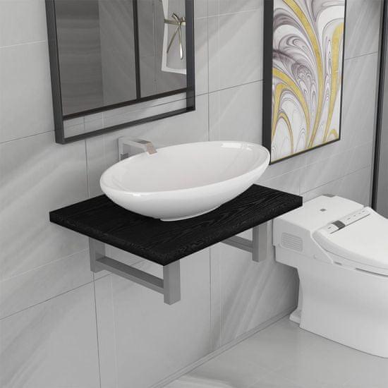 shumee Dwuczęściowy zestaw mebli do łazienki, ceramiczny, czarny