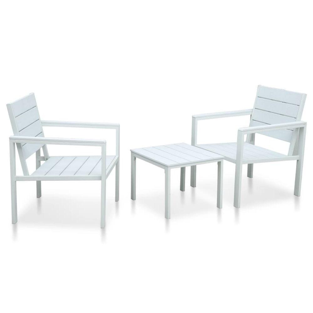 3dílný bistro set HDPE bílý dřevěný vzhled
