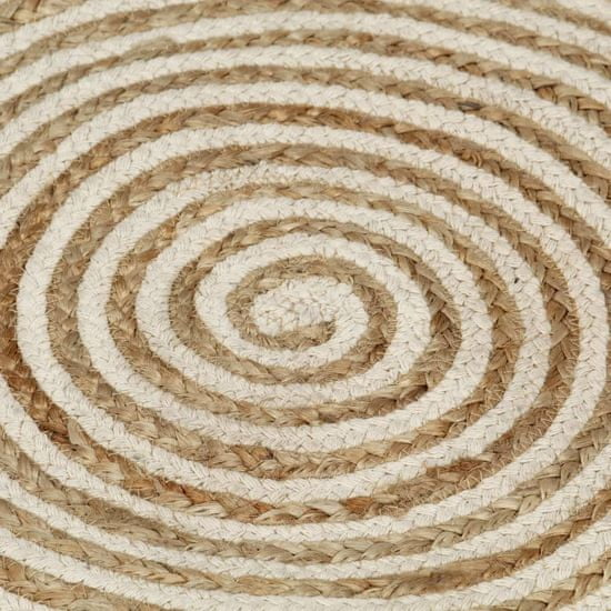 shumee Dywanik ręcznie wykonany z juty, spiralny wzór, biały, 90 cm