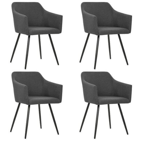 shumee Jedálenské stoličky 4 ks, tmavosivé, látka
