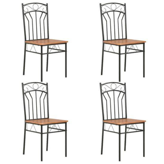 shumee Krzesła do jadalni, 4 szt., brązowe, MDF