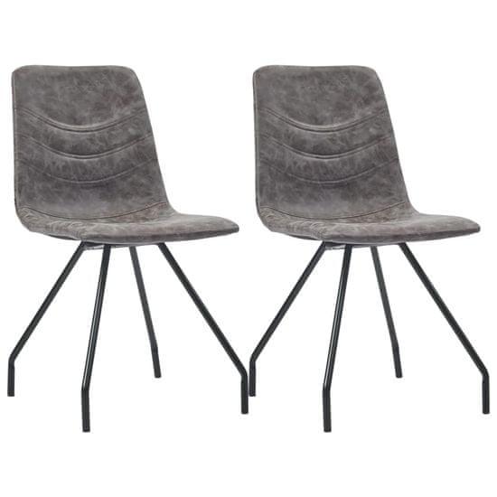 shumee Jedilni stoli 2 kosa temno rjavo umetno usnje
