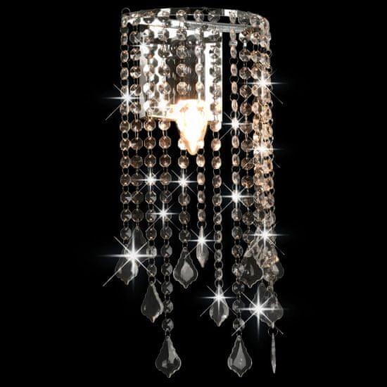 shumee Stenska svetilka s kristalnimi kroglami srebrna pravokotna E14