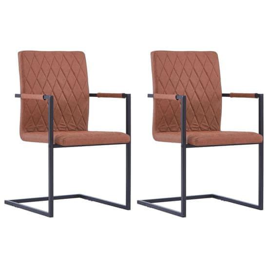 shumee Krzesła stołowe, 2 szt., wspornikowe, brązowe, ekoskóra