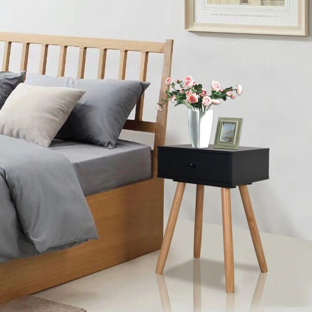 Vidaxl Noční stolky 2 ks masivní borové dřevo 40 x 30 x 61 cm černé