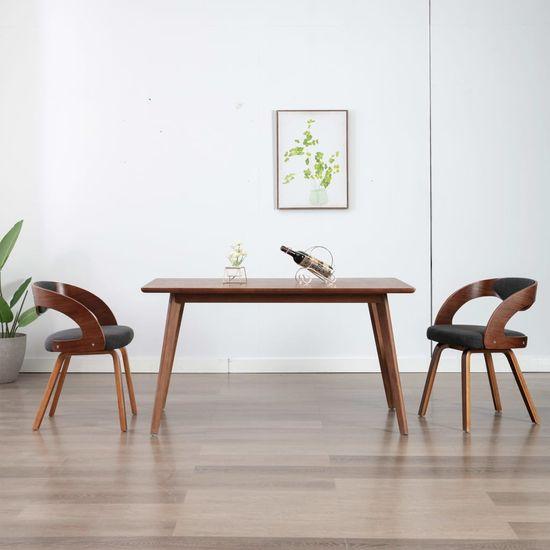 shumee Jedilni stoli 2 kosa temno sivi ukrivljen les in blago