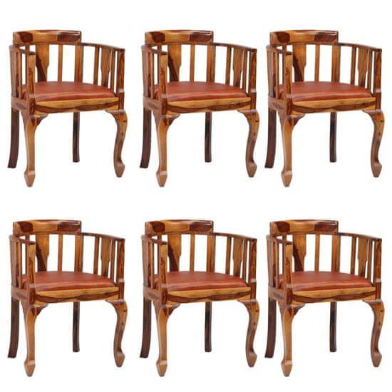 shumee Jedilni stoli 6 kosov iz pravega usnja in trdnega palisandra