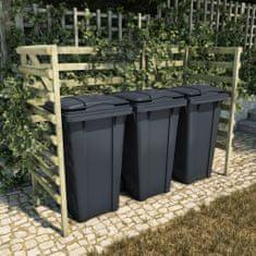 shumee Trojna lopa za smetnjake zelena 210x80x150 cm borovina