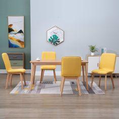 shumee Jedálenské stoličky 4 ks, žlté, látka a dubový masív
