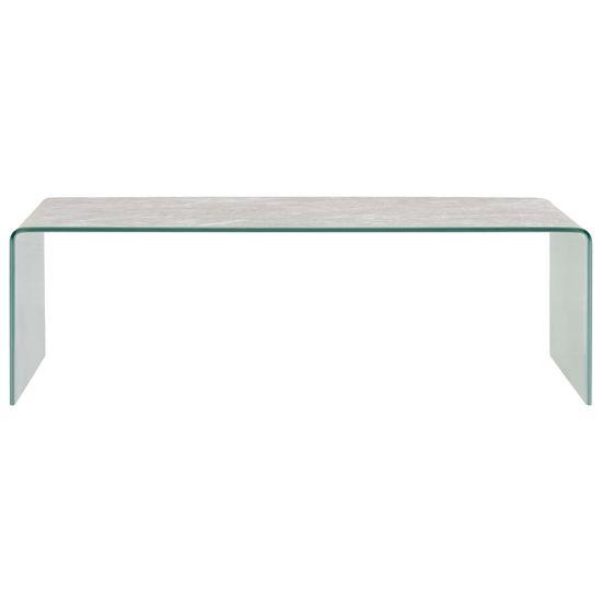 shumee Klubska mizica rjav marmor 98x45x31 cm kaljeno steklo