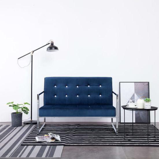 shumee kétszemélyes kék króm és bársony karfás kanapé