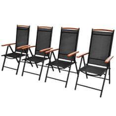 shumee Skladacie záhradné stoličky 4 ks, hliník a textilén, čierne