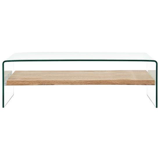 shumee Klubska mizica prozorna 98x45x31 cm kaljeno steklo