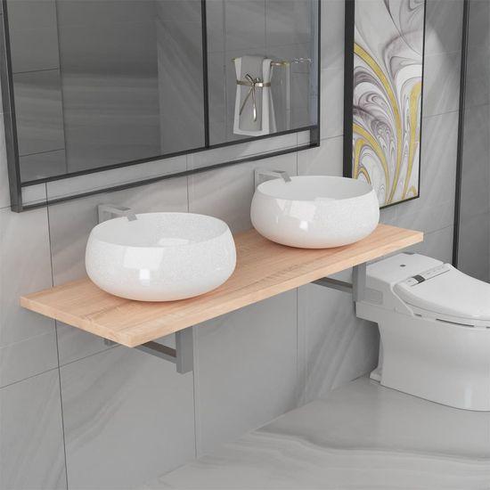 shumee Trojdielna súprava kúpeľňového nábytku, keramika, dubová farba