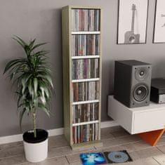 shumee Szafka na CD, biel i dąb sonoma, 21x20x88 cm, płyta wiórowa