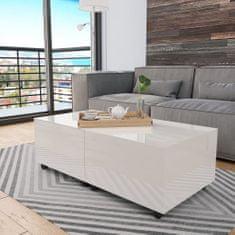 shumee Konferenčný stolík biely 120x60x35 cm vysoko-lesklý
