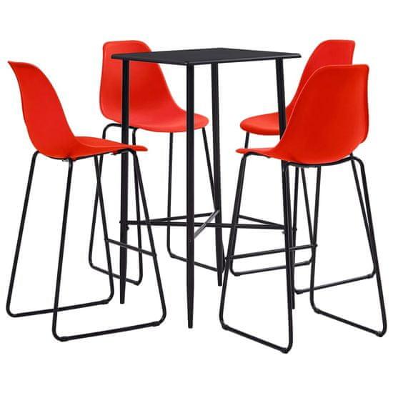 shumee 5-częściowy zestaw mebli barowych, plastik, czerwony