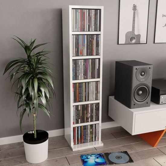 shumee Omarica za CD plošče visok sijaj bela 21x20x88 cm iverna plošča