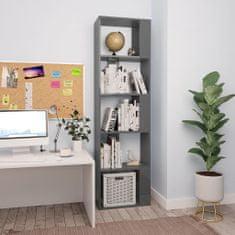 shumee Knihovna/zástěna šedá vysoký lesk 45 x 24 x 159 cm dřevotříska