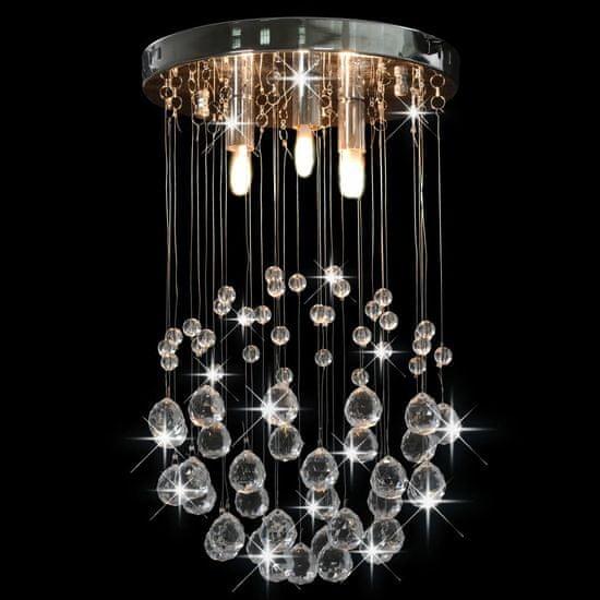 shumee Stropna svetilka s kristalnimi kroglicami srebrna okrogla 3xG9