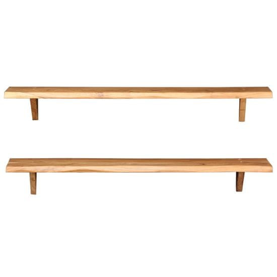 shumee Stenske police 2 kosa 120x20x16 cm trden akacijev les