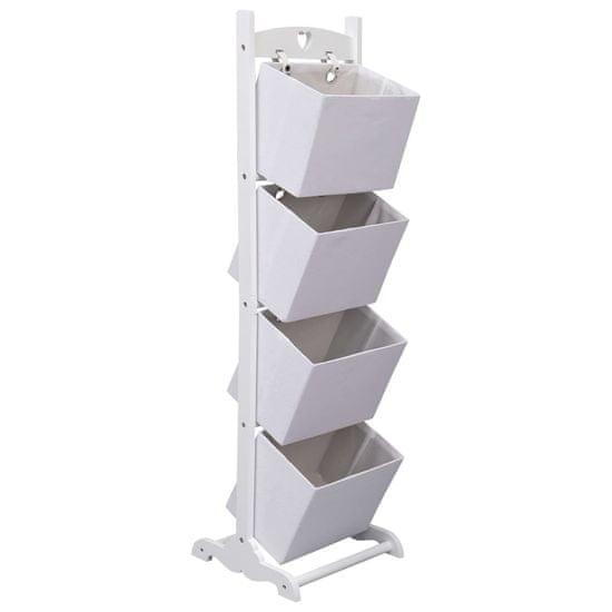 shumee 4-poziomowy regał z koszami, biały, 35x35x125 cm, drewniany