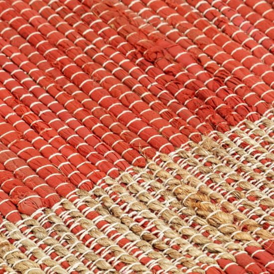 Greatstore Preproga iz jute ročno izdelana rdeča 160x230 cm