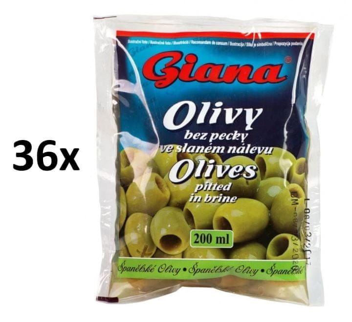Giana Španělské olivy zelené bez pecky ve slaném nálevu 36× 195g