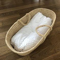 Aesthetic Hnízdo pro miminko péřové-podložka - minky - bílá