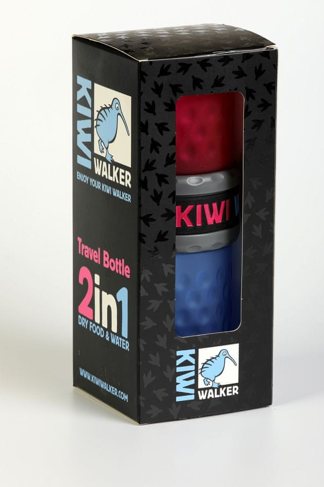 KIWI WALKER Cestovní láhev 2in1, růžová/modrá