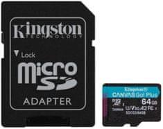 Kingston microSDXC 64GB Canvas Go Plus 170R A2 U3 V30 + adaptér (SDCG3/64GB)