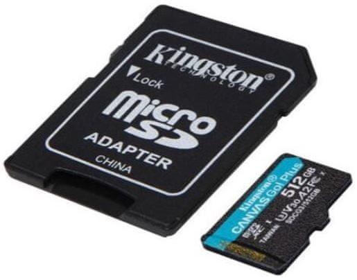 Kingston Canvas Go! Plus microSD 512 GB spominska kartica + microSD adapter