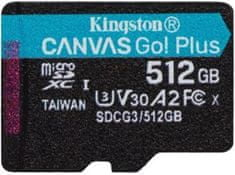 Kingston microSDXC 512GB Canvas Go Plus 170R A2 U3 V30 (SDCG3/512GBSP)