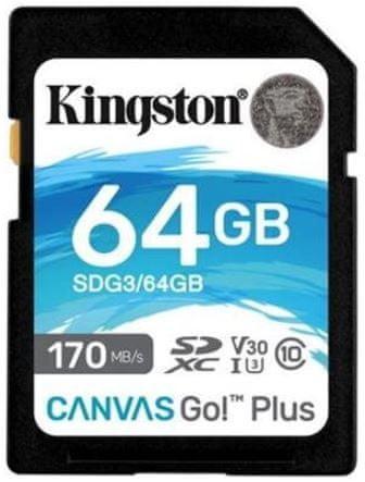 Kingston SDXC 64GB Canvas Go Plus 170R C10 UHS-I U3 V30 (SDG3/64GB)