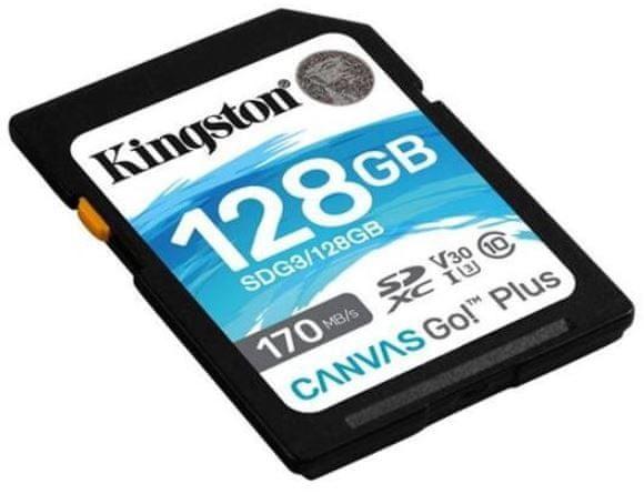Kingston SDXC 128GB Canvas Go Plus 170R C10 UHS-I U3 V30 (SDG3/128GB)