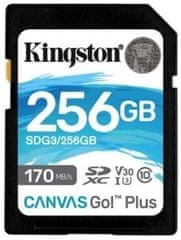 Kingston SDXC 256GB Canvas Go Plus 170R C10 UHS-I U3 V30 (SDG3/256GB)