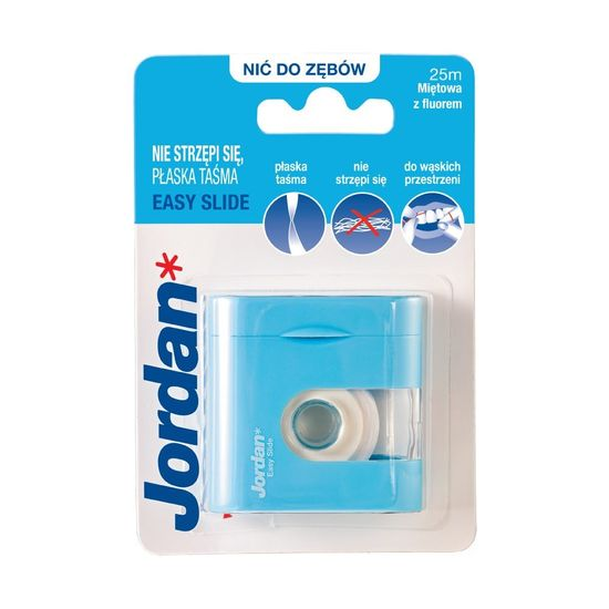 Jordan Easy Slide Zubní nit pro snadné čištění s fluoridem, máta, 25 m
