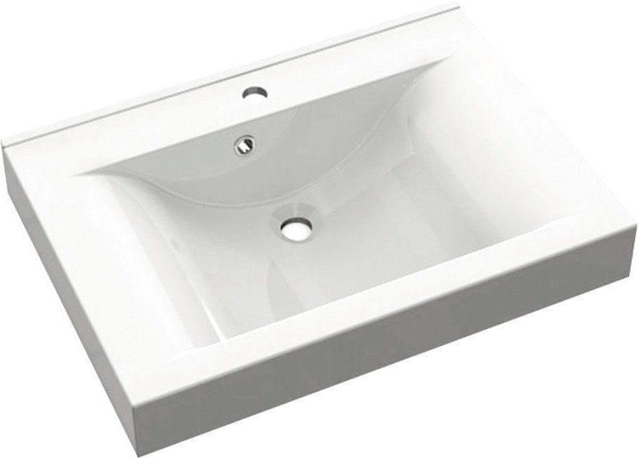 SAPHO FLAVIA umyvadlo 70x50cm, litý mramor, bílá (68071)
