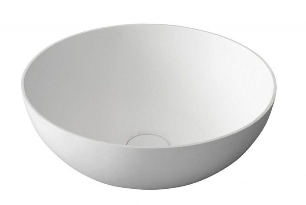 SAPHO THIN kulaté umyvadlo na desku, 39x14,5cm, bílá mat (WN185)
