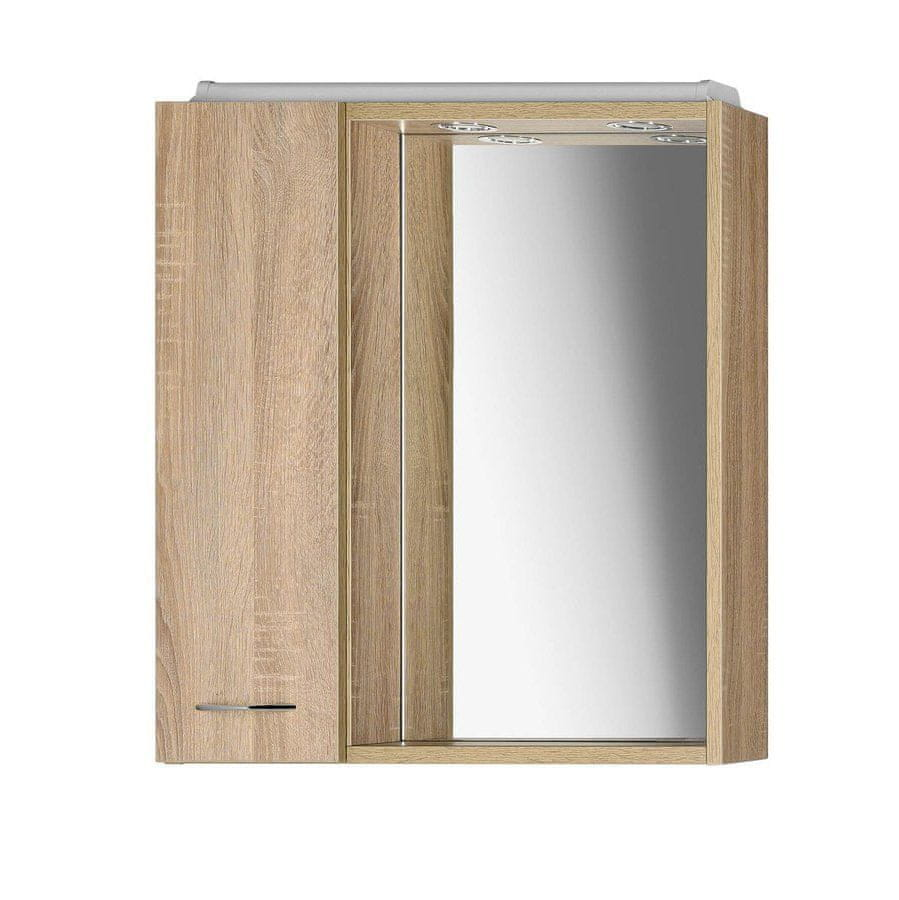 AQUALINE ZOJA/KERAMIA FRESH galerka s LED osvětlením, 60x60x14cm,dub platin , levá (45027)