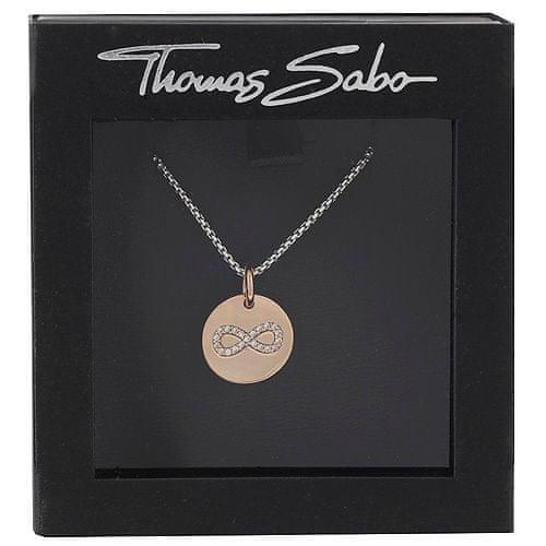 """Thomas Sabo Ogrlica """"Neskončnost"""" Thomasa Saboja, SCKE150168, Love Love Bridge, 925 šterling srebro, prevleka iz 18k rose rose, cirkonija bela"""