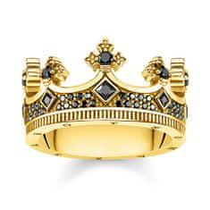 "Thomas Sabo Prsteň ""Koruna"" , TR2208-414-11-54, Sterling Silver, 925 Sterling silver, 18k yellow gold plating, zirconia black"