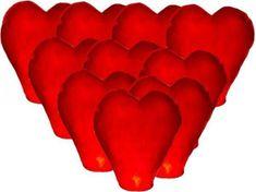 Lampión štěstí - přání - červené srdce - 10 ks/balení