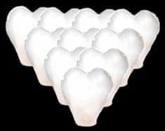 Lampión štěstí - přání - bílé srdce - 10 ks/balení