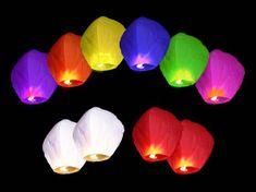 Lietajúci lampión šťastia - želanie - mix farieb - 10ks/balenie